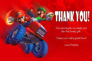 Personalised Super Mario Thank You Cards - Design 1
